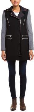 Dawn Levy 2 Alix Black & Light Heather Grey -Tone Wool Coat