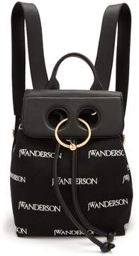 J.W.Anderson Pierce logo-embroidered mini linen backpack