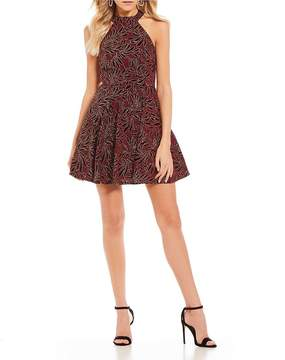 B. Darlin Glitter Flocked Fit-And-Flare Dress