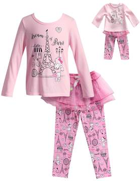 Dollie & Me Girls 4-14 Dream of Paris Eiffel Tower Top & Tulle Skirt Bottoms Pajama Set