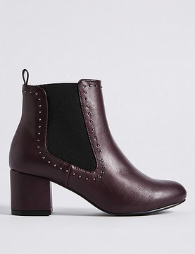 Marks and Spencer Wide Fit Block Heel Stud Detail Ankle Boots
