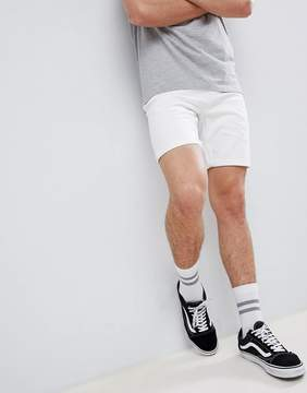 Pull&Bear Slim Fit Denim Shorts In White