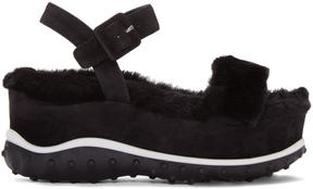 Miu Miu Black Shearling Wedge Sandals