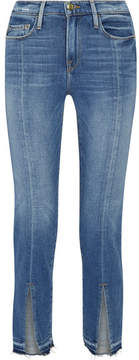 Frame Le Nouveau Distressed Mid-ride Straight-leg Jeans - Blue