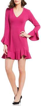 Donna Morgan V-Neck Bell-Sleeve Ruffle Hem Dress
