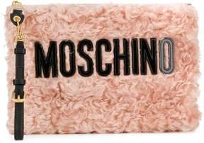 Moschino medium logo textured pouch