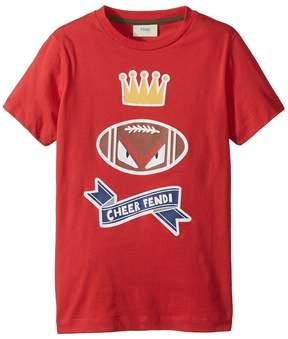 Fendi Short Sleeve 'Cheer Fendi' Football Graphic T-Shirt Boy's T Shirt