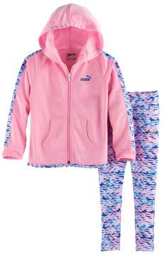 Puma Toddler Girl Watercolor Hooded Jacket & Leggings Set