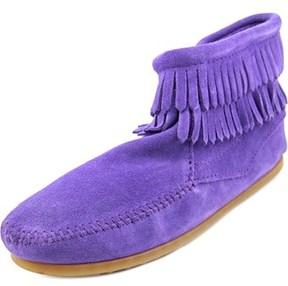 Minnetonka Double Fringe Moc Toe Suede Ankle Boot.