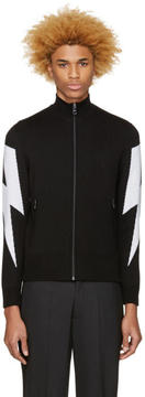 Neil Barrett Black Thunderbolt Zip-Up Sweater