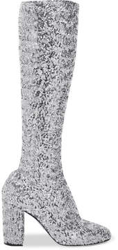 Dolce & Gabbana Sequined Mesh Knee Boots - Silver
