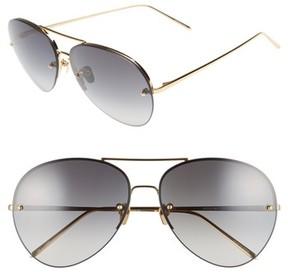 Linda Farrow Women's 63Mm 18-Karat Gold Trim Gradient Lens Aviator Sunglasses - Yellow Gold/ Grey