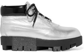 Acne Studios Tinnie Alu Metallic Textured-leather Ankle Boots - Silver