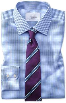 Charles Tyrwhitt Classic Fit Non-Iron Grid Check Sky Blue Cotton Dress Shirt Single Cuff Size 15.5/33