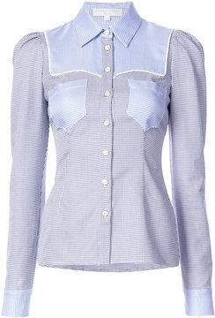 Caroline Constas patch detailed gingham print shirt