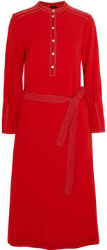 Joseph Grace Belted Crepe Dress - Red