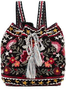 Johnny Was Emilia Embroidered Linen Backpack
