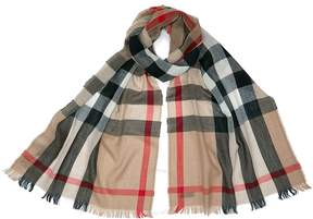 Burberry Check Merino Wool and Cashmere Blend Scarf - Camel