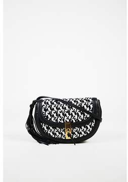 Altuzarra Pre-owned Black White Woven Leather ghianda Shoulder Bag.