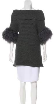Ballantyne Fur-Trimmed Cashmere Sweater