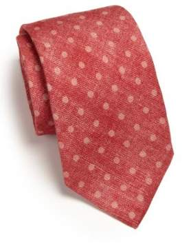 Isaia Dot-Print Silk& Wool Tie