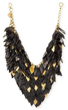 Ashley Pittman Tanzu Dark Horn Layered Chain Leaf Necklace