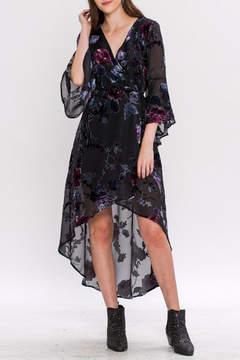 Flying Tomato Velvet-Applique Maxi Dress