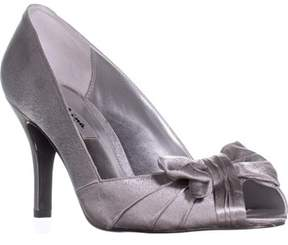 Nina Forbes Bow Wrap Peep Toe Dress Heels, Royal Silver.
