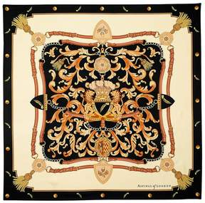 Aspinal of London Signature Shield Silk Scarf In Black