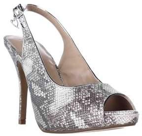 Thalia Sodi Ts35 Camiila Sling-back Peep-toe Heels, Silver Snake.
