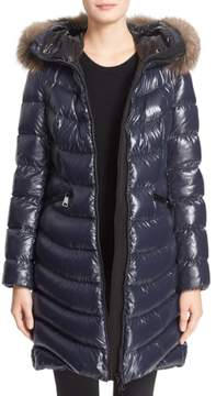 Moncler Women's 'Aphia' Water Resistant Shiny Nylon Down Puffer Coat With Removable Genuine Fox Fur Trim