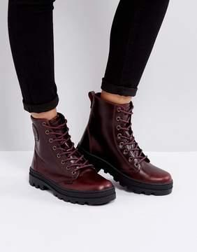 Palladium Pallabosse Regal Burgandy Leather Flat Ankle Boots