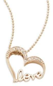 Alex Woo Little Words Diamond & 14K Yellow Gold Love Heart Necklace