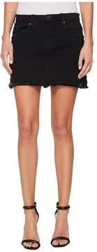 Blank NYC Black Mini Skirt with Lacing and Zipper Detail in Be A Frayed Women's Skirt