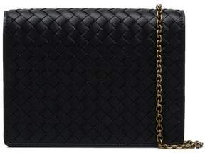 Bottega Veneta black Intrecciato leather wallet on a chain