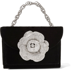 Oscar de la Renta Tro Crystal-embellished Velvet Shoulder Bag - Black