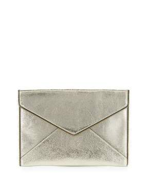 Rebecca Minkoff Leo Metallic Leather Clutch Bag, Champagne - CHAMPAGNE - STYLE