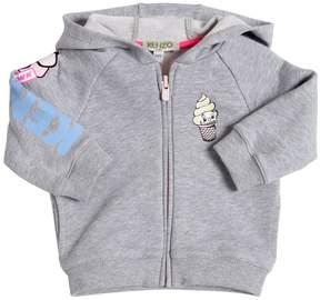Kenzo Hooded Zip-Up Logo Printed Sweatshirt
