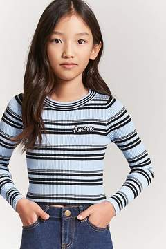 Forever 21 Girls Stripe Amore Sweater (Kids)