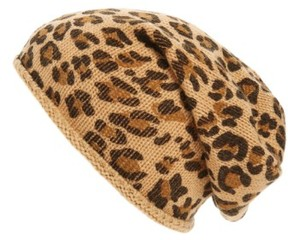 BP Women's Leopard Print Slouchy Beanie - Brown