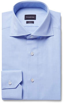 Ermenegildo Zegna Blue Slim-Fit Cutaway-Collar Puppytooth Cotton Shirt