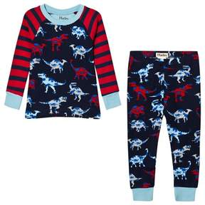 Hatley Red and Navy Raglan Dino Print Pyjamas