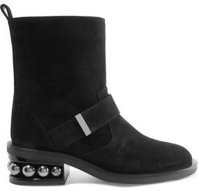 Nicholas Kirkwood Casati Embellished Suede Biker Boots - Black