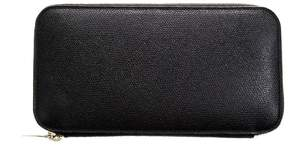 Valextra Black Leather Zip Around Wallet