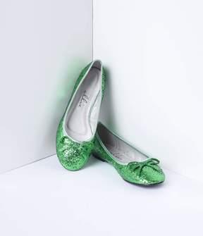 Unique Vintage Green Glitter Bow Mila Flats Shoes