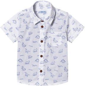 Mayoral White and Blue Dinosaur Print Shirt