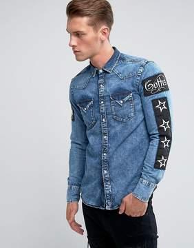 Replay Regular Fit Patches Denim Shirt