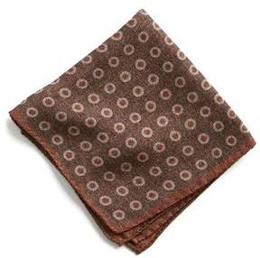 Todd Snyder Italian Wool Pocket Square in large Brown Circle
