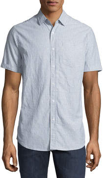 Report Collection Men's Short-Sleeve Checkered Oxford Shirt