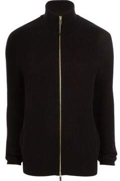 River Island Mens Black rib knit funnel neck zip front cardigan